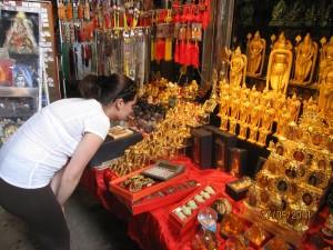 Zina looking at souvenirs